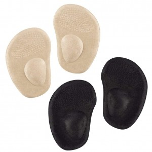 DOACT Ball of Foot Cushions, 2 Pairs Anti-Slip Metatarsal Foot Pads Gel Shoe Inserts for High Heels (Skin&Black-Velvet Outer-Layer)